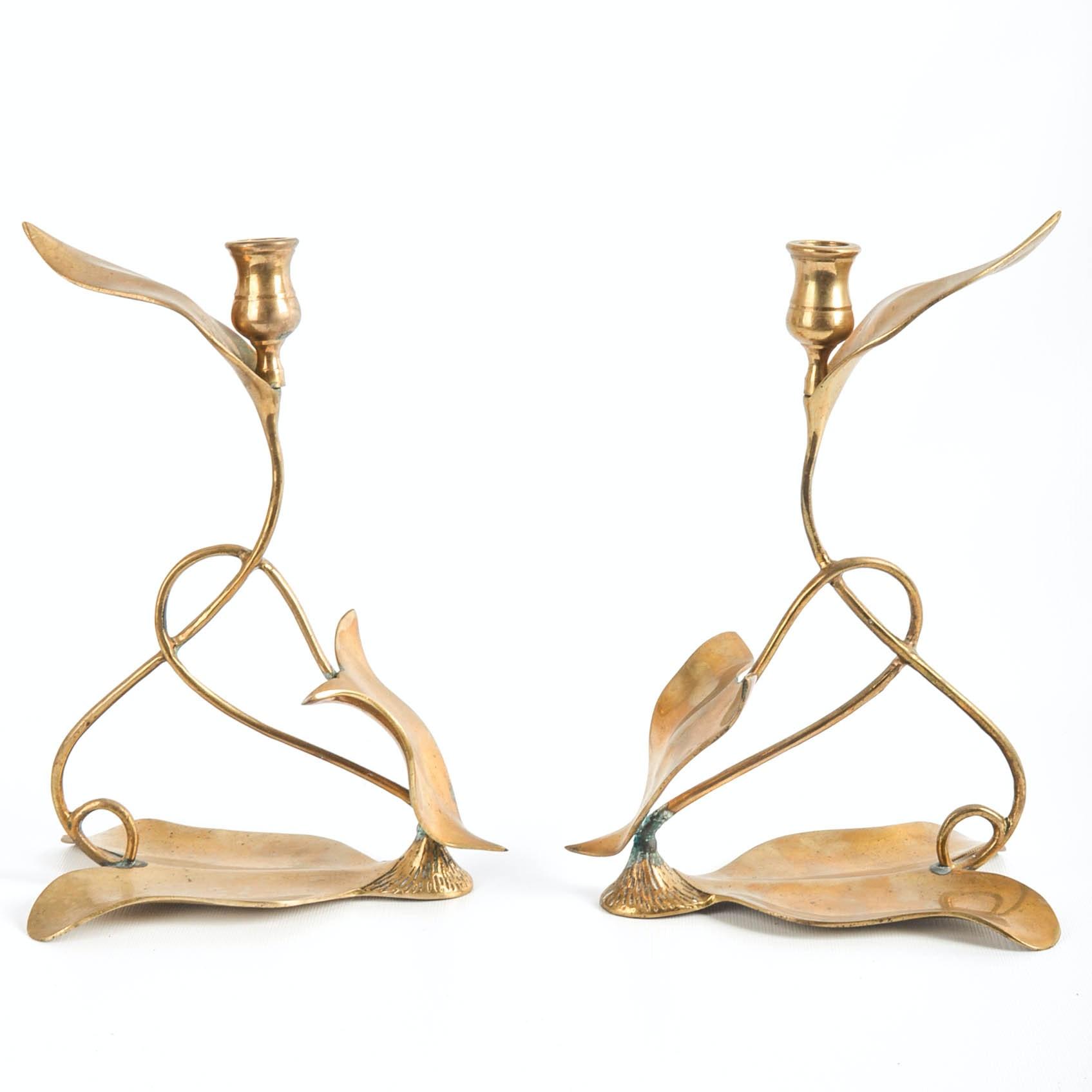 Dolbi Cashier 1980s Art Nouveau Style Brass Candlesticks