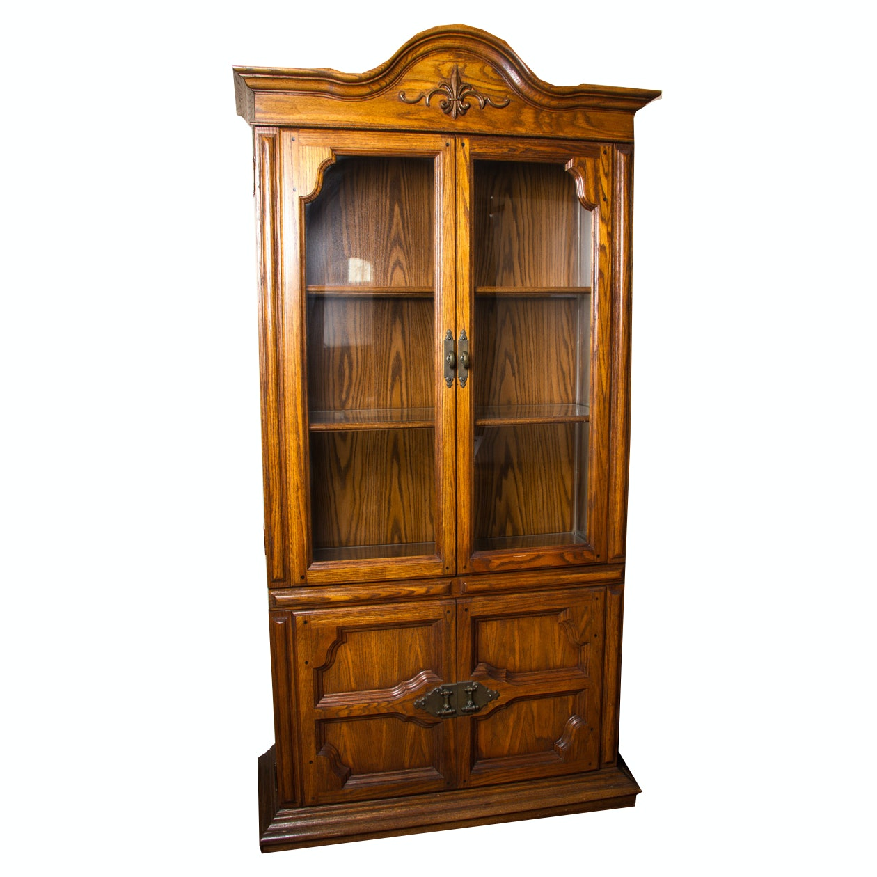French Provincial Style Oak China Cabinet
