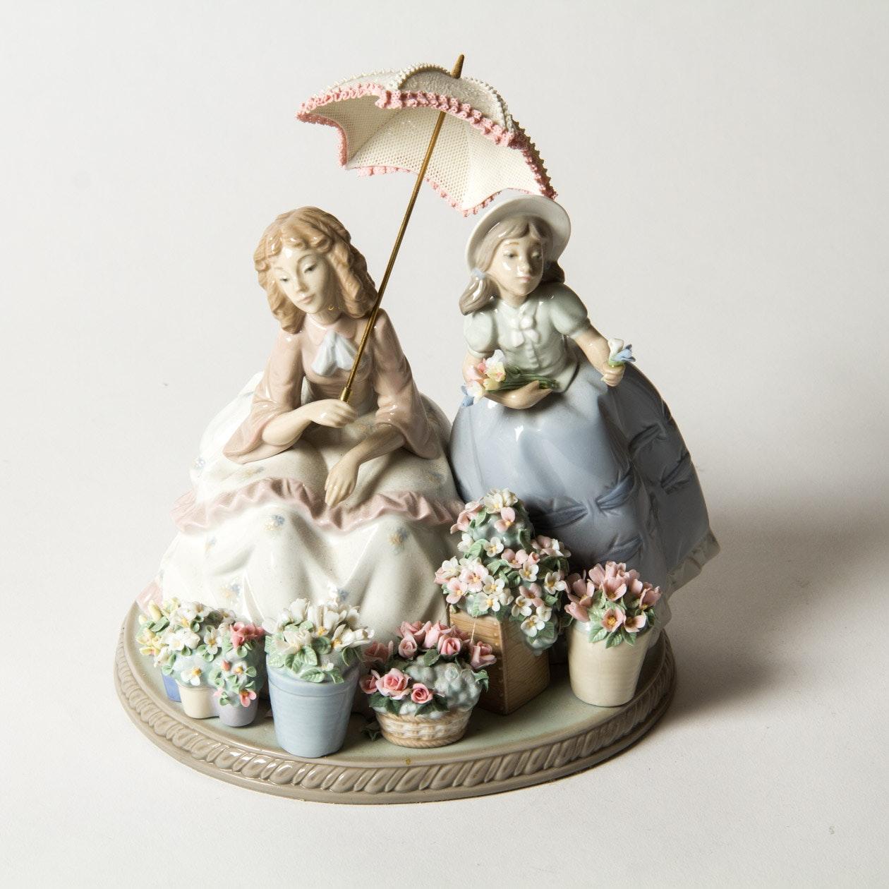 "Lladro ""Flowers for Sale"" Porcelain Figurine"