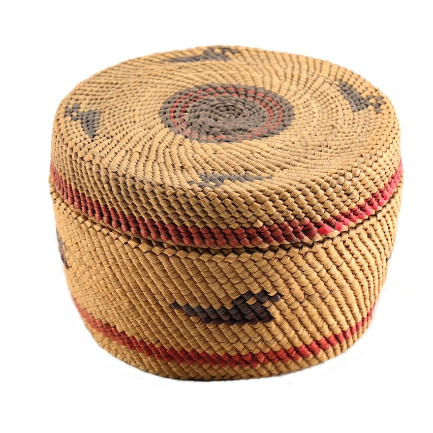 Early 20th Century Small Makah-Nootka Lidded Basket with Loons
