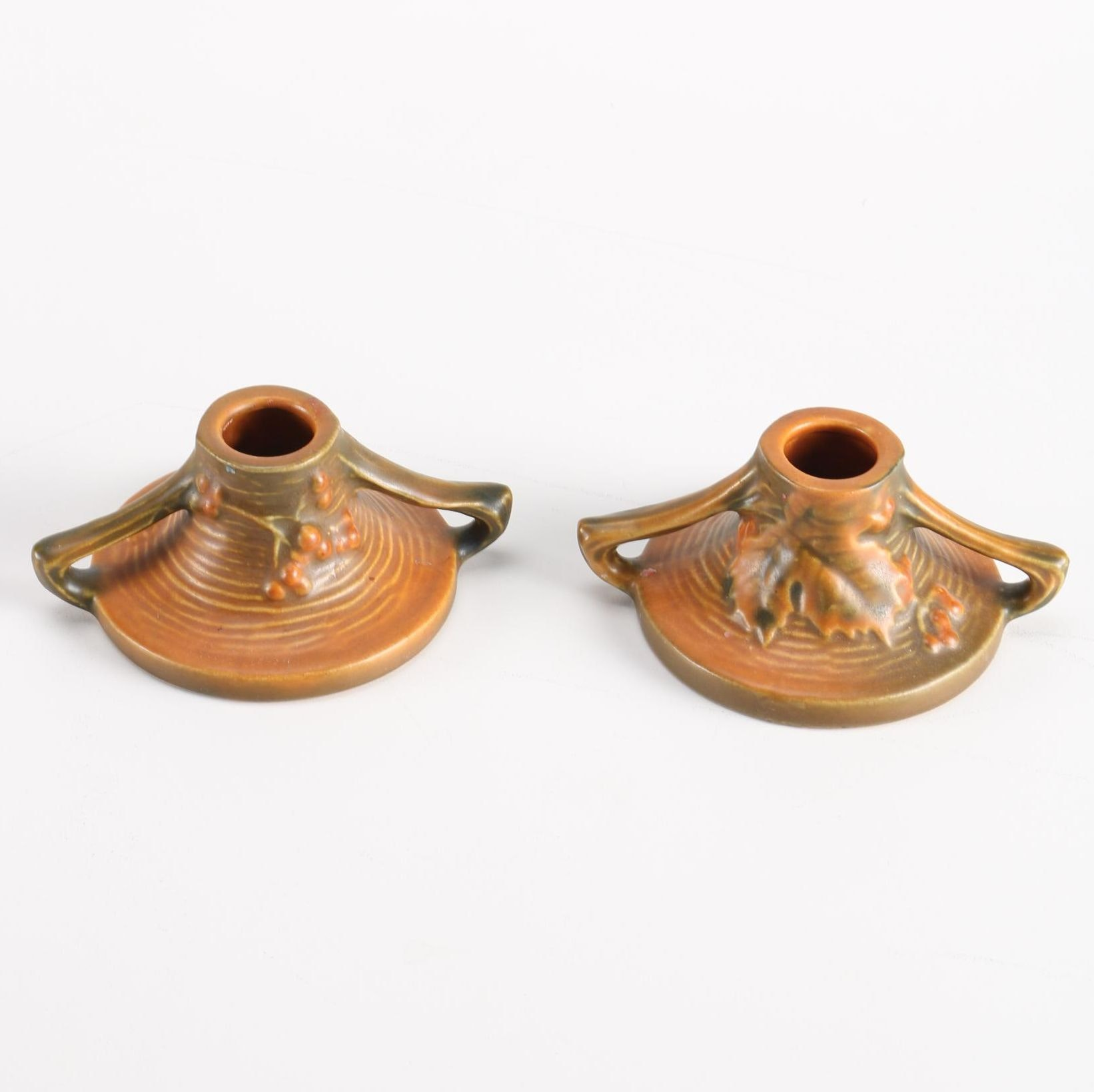 """Circa 1940s Roseville Pottery Brown """"Bushberry"""" Candle Holders"""