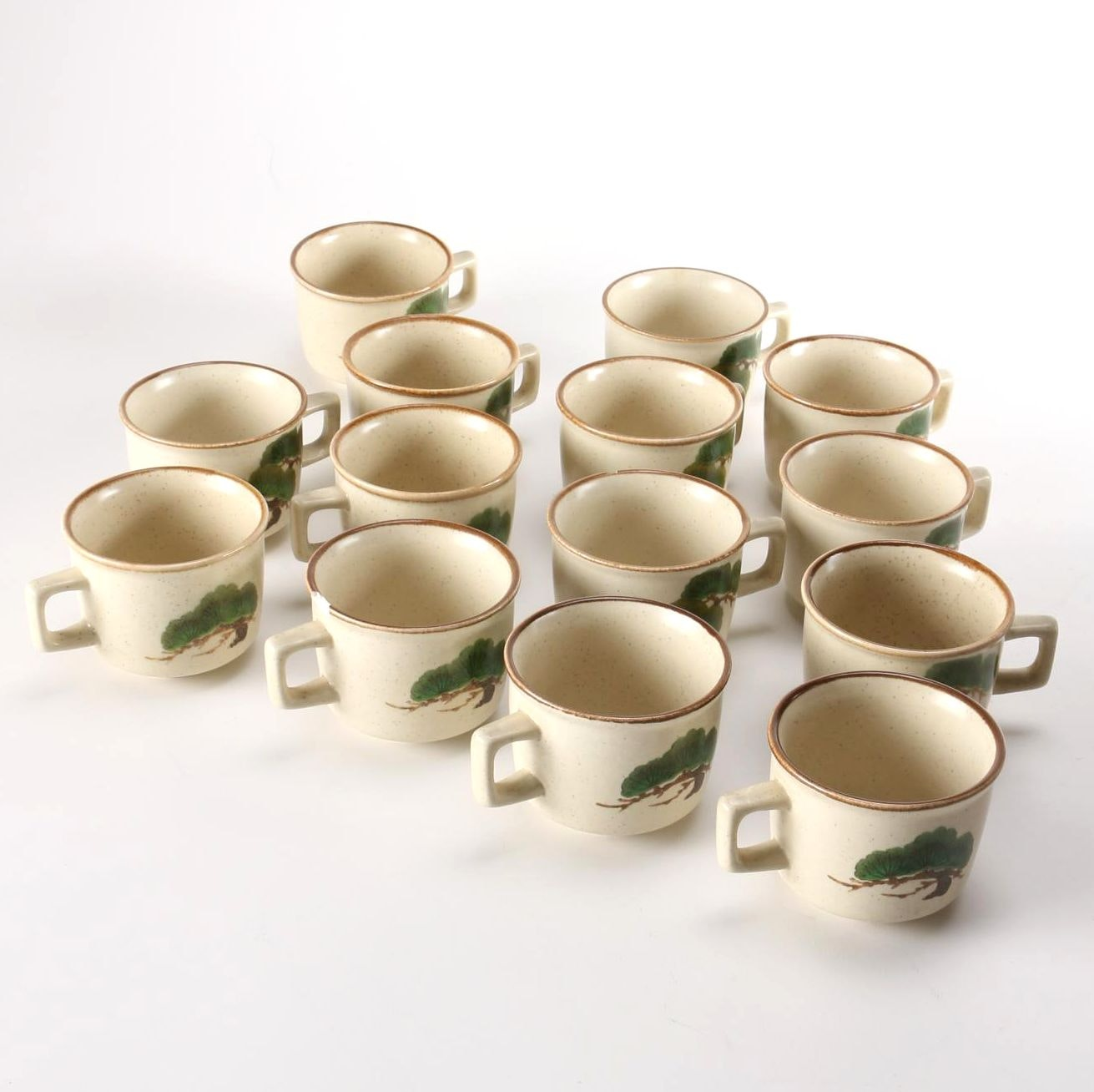 """Hand-Painted Japanese Mikasa """"Pine Branch"""" Cups"""