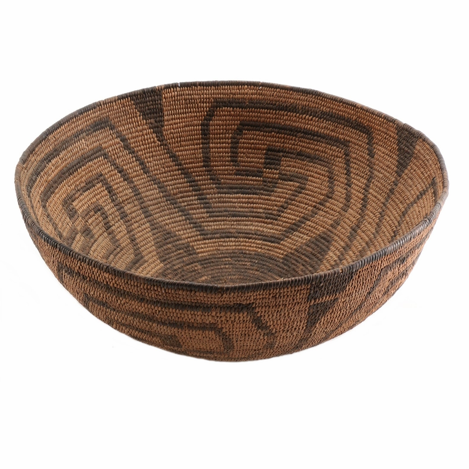 Circa 1900 Large Pima Native American Indian Coiled Basketry Bowl