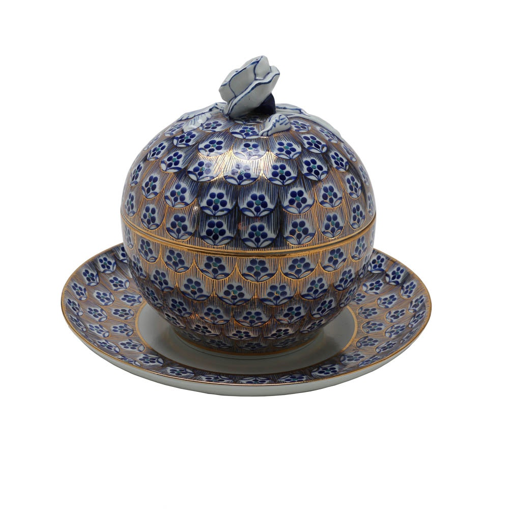 Hand Painted Porcelain Lidded Dish and Plate