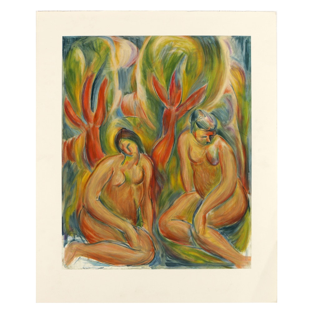 """Bob Guccione Lithograph on Rag Paper After Original Oil Painting on Canvas """"Bathers"""""""