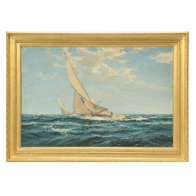 W. Knox Original Vintage Oil Maritime Painting on Canvas