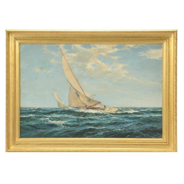 W. Knox Original Vintage Oil Maritime Painting on Canvas