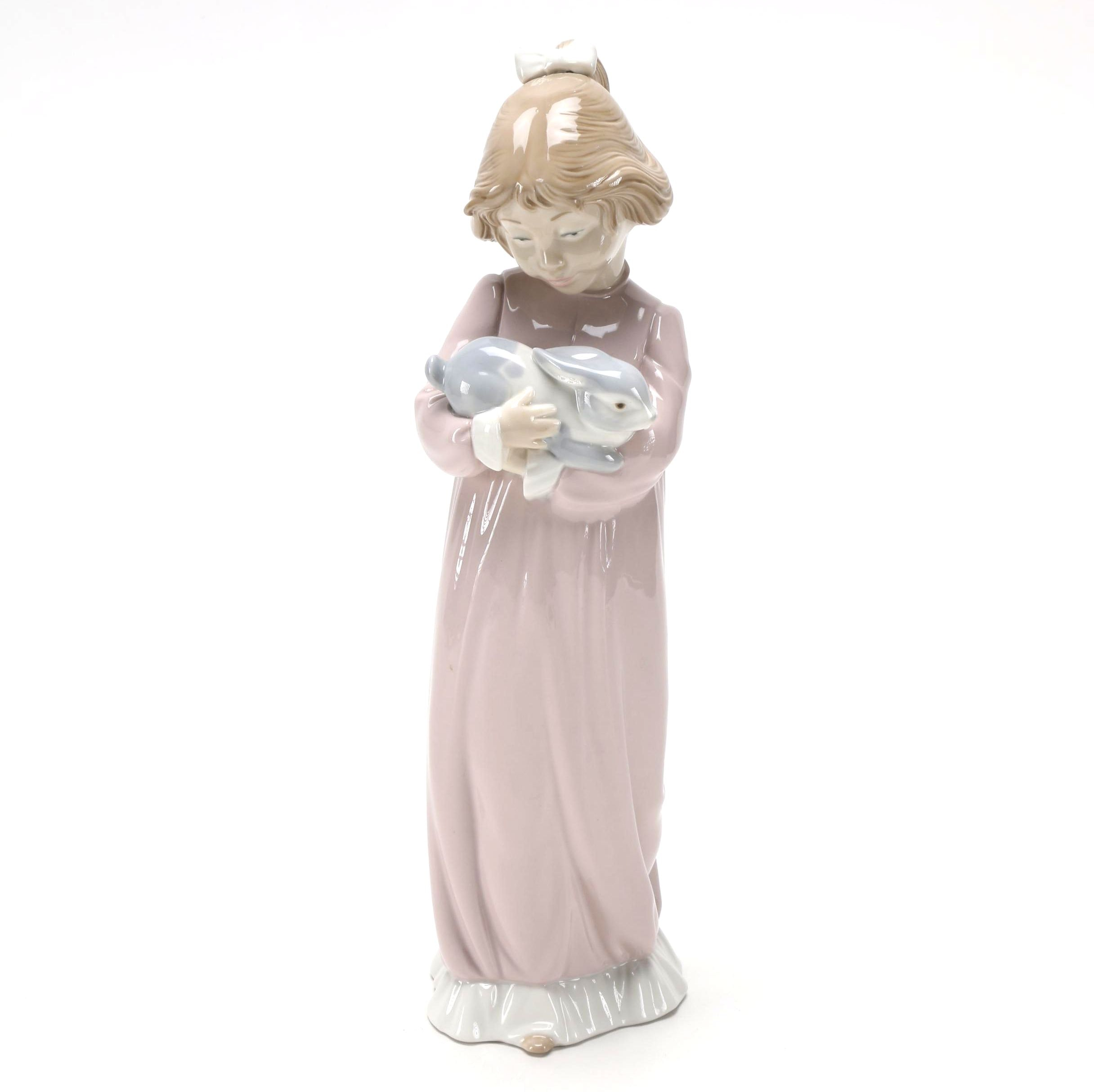 Lladró Girl Holding Rabbit Figurine