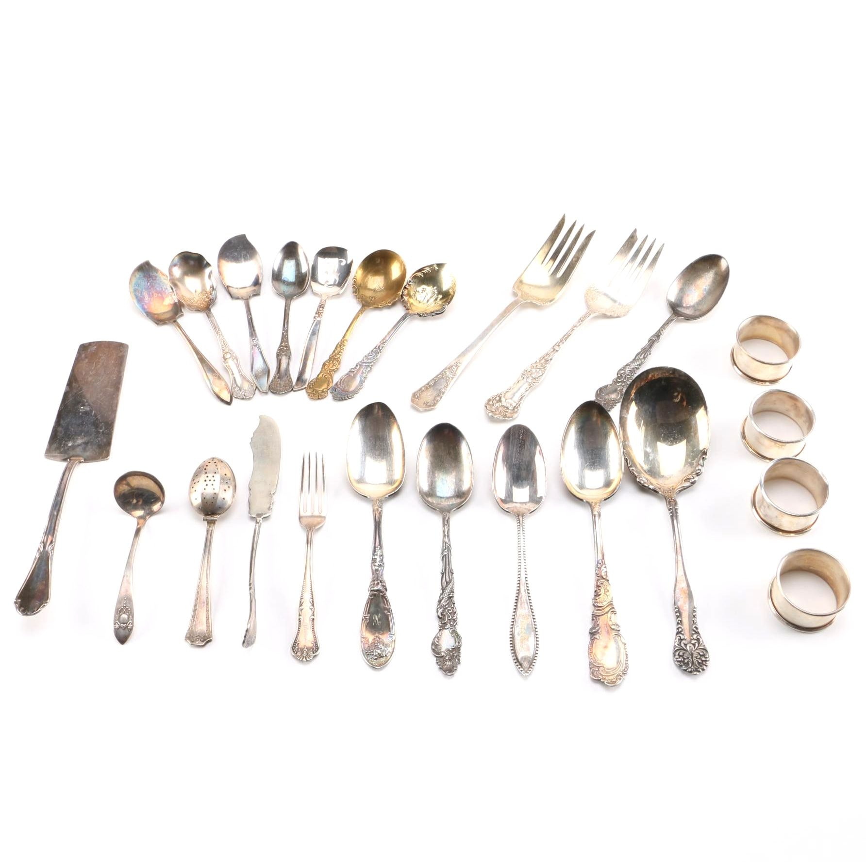 Collection of Silver Plate Serving Utensils and More