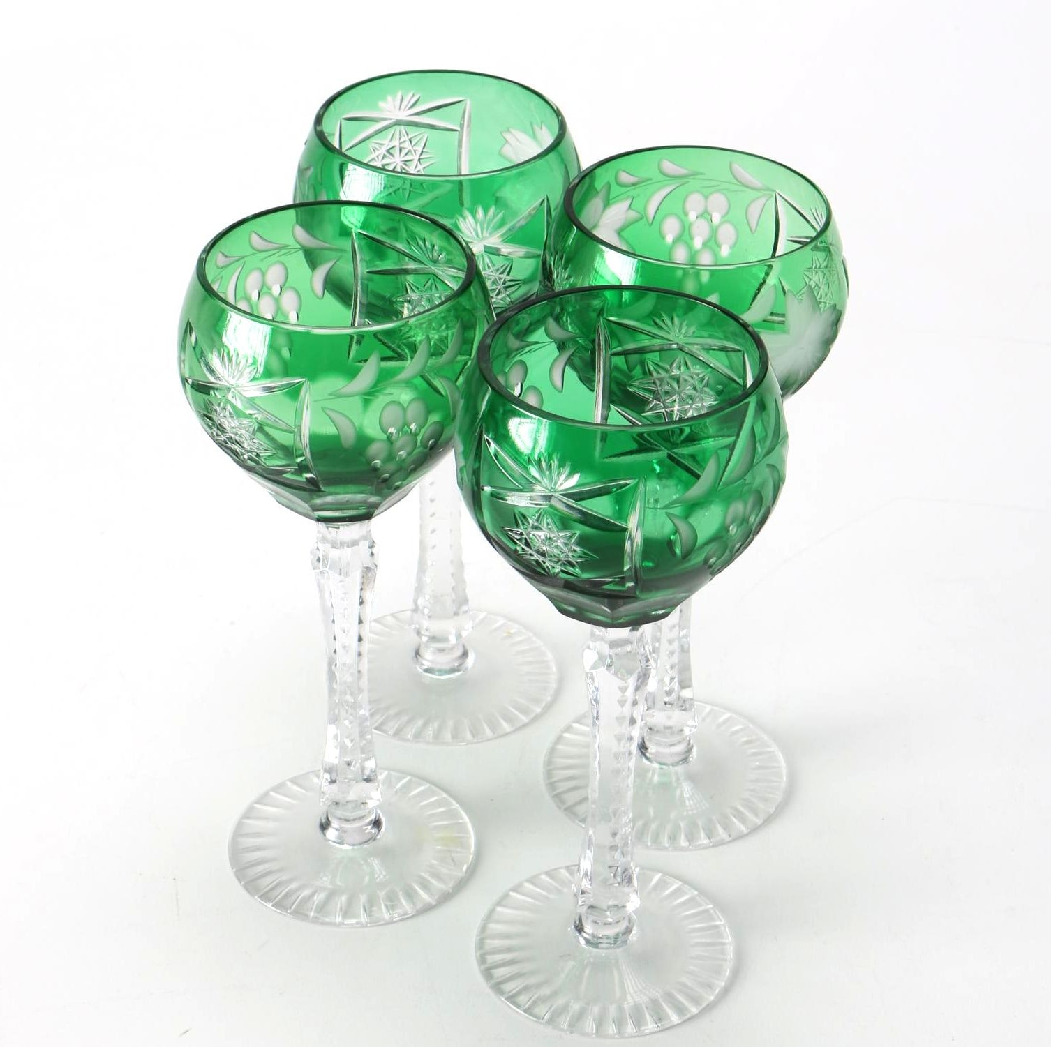 Set of Cut To Clear Wine Glasses