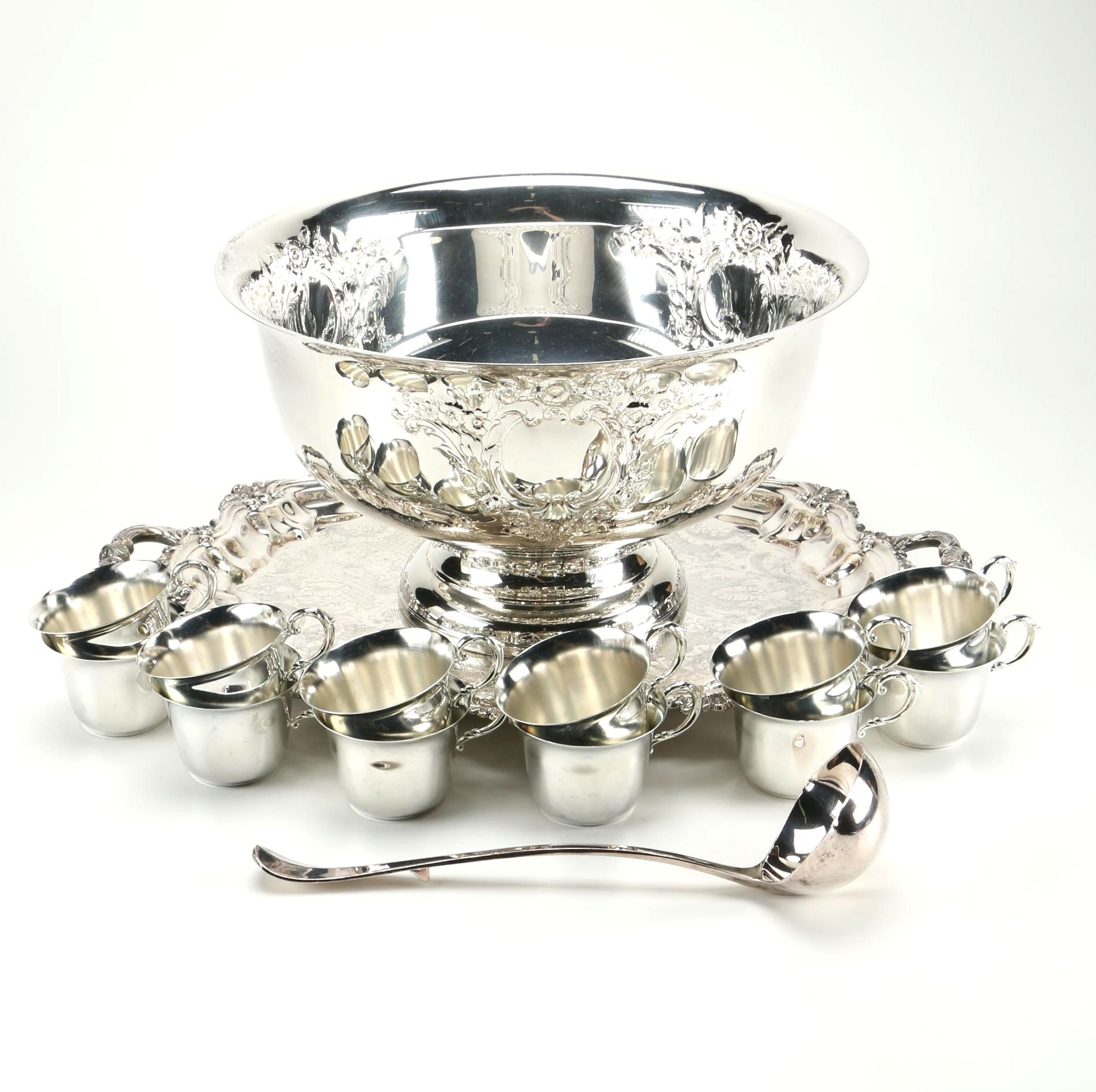 Oneida Silver Plate Punch Bowl and Accessories