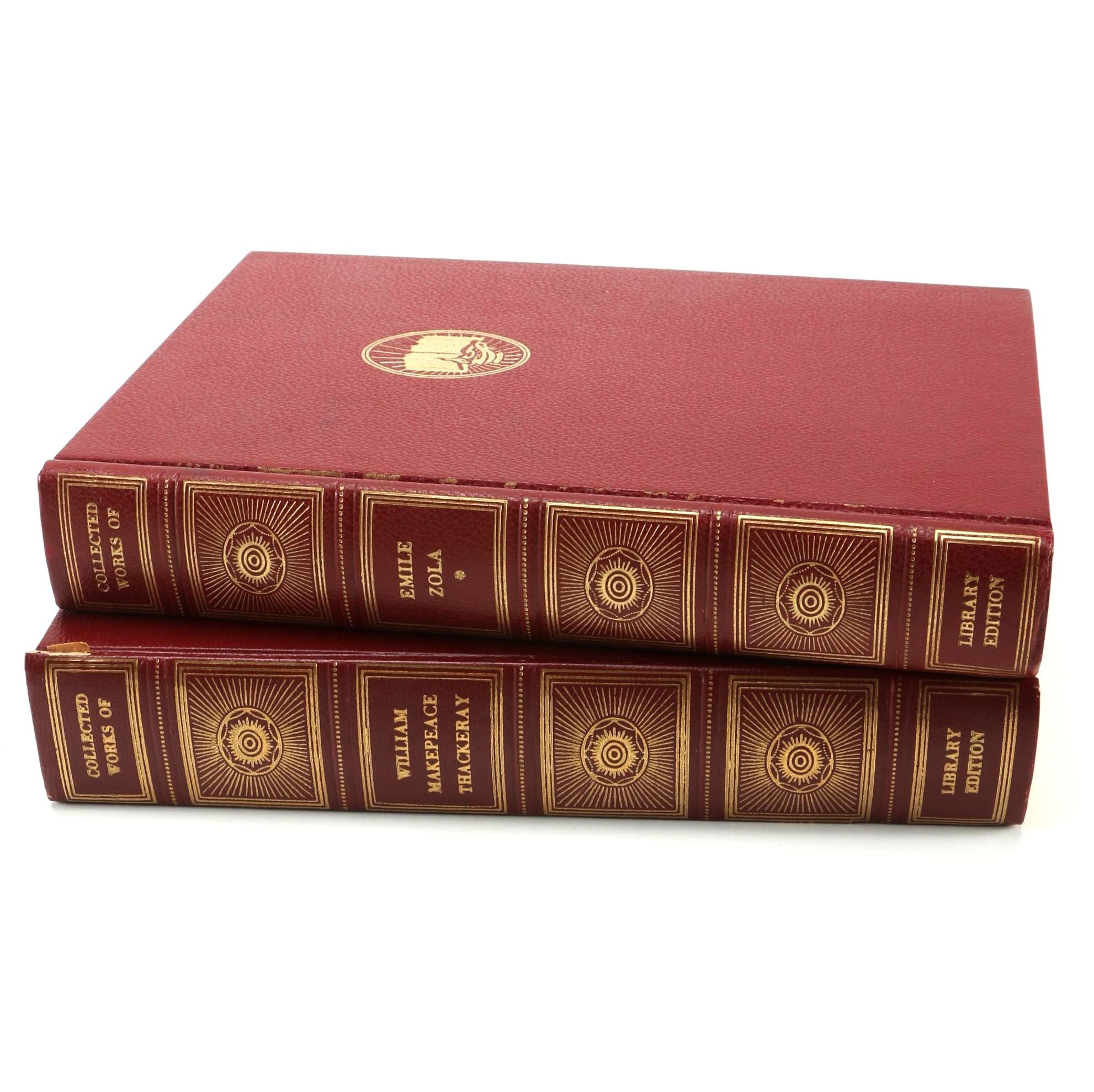 """Hardcover Library Editions of """"Collected Works Of"""" Emile Zola and William Thackeray"""