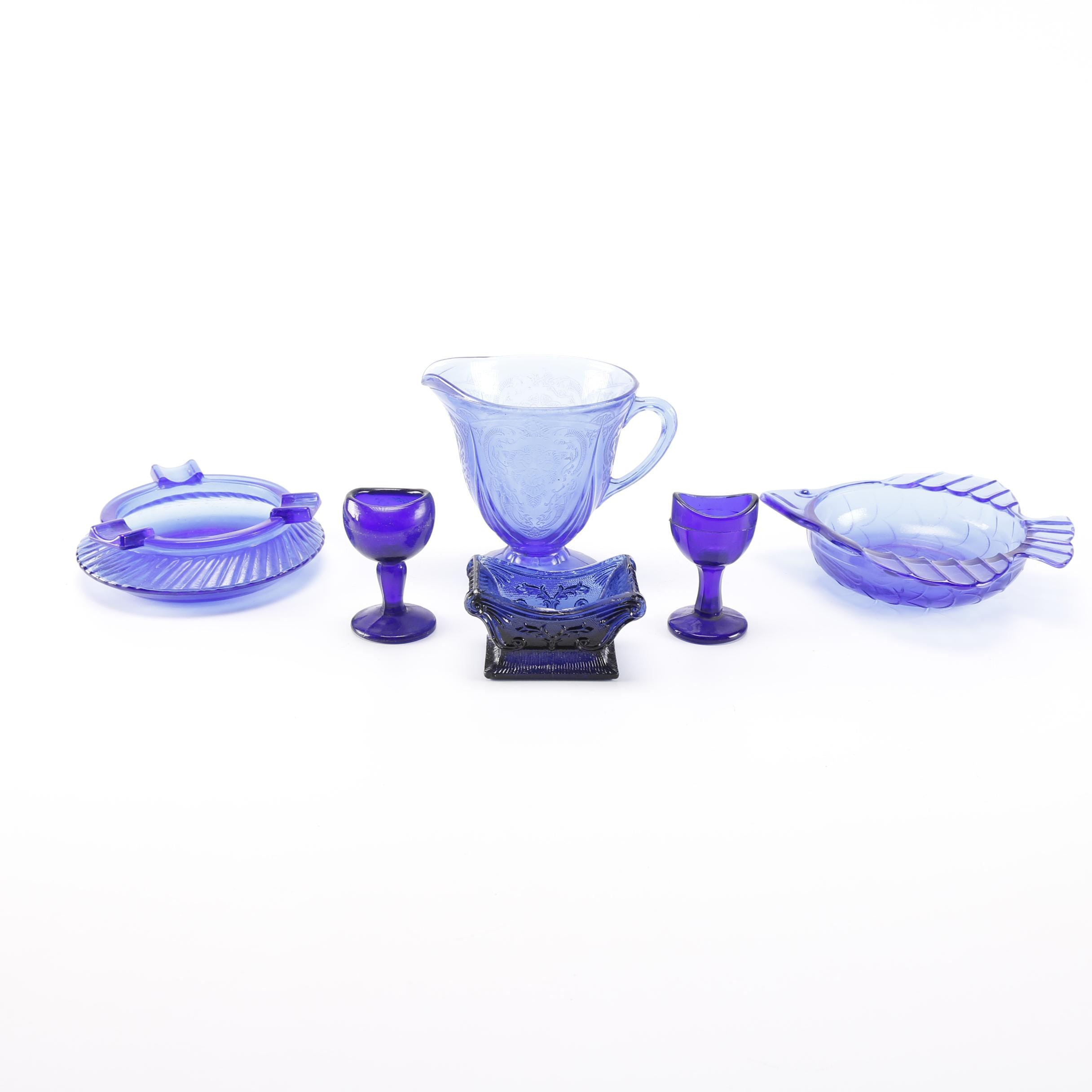 Blue Glass Pitcher, Bowl, and More