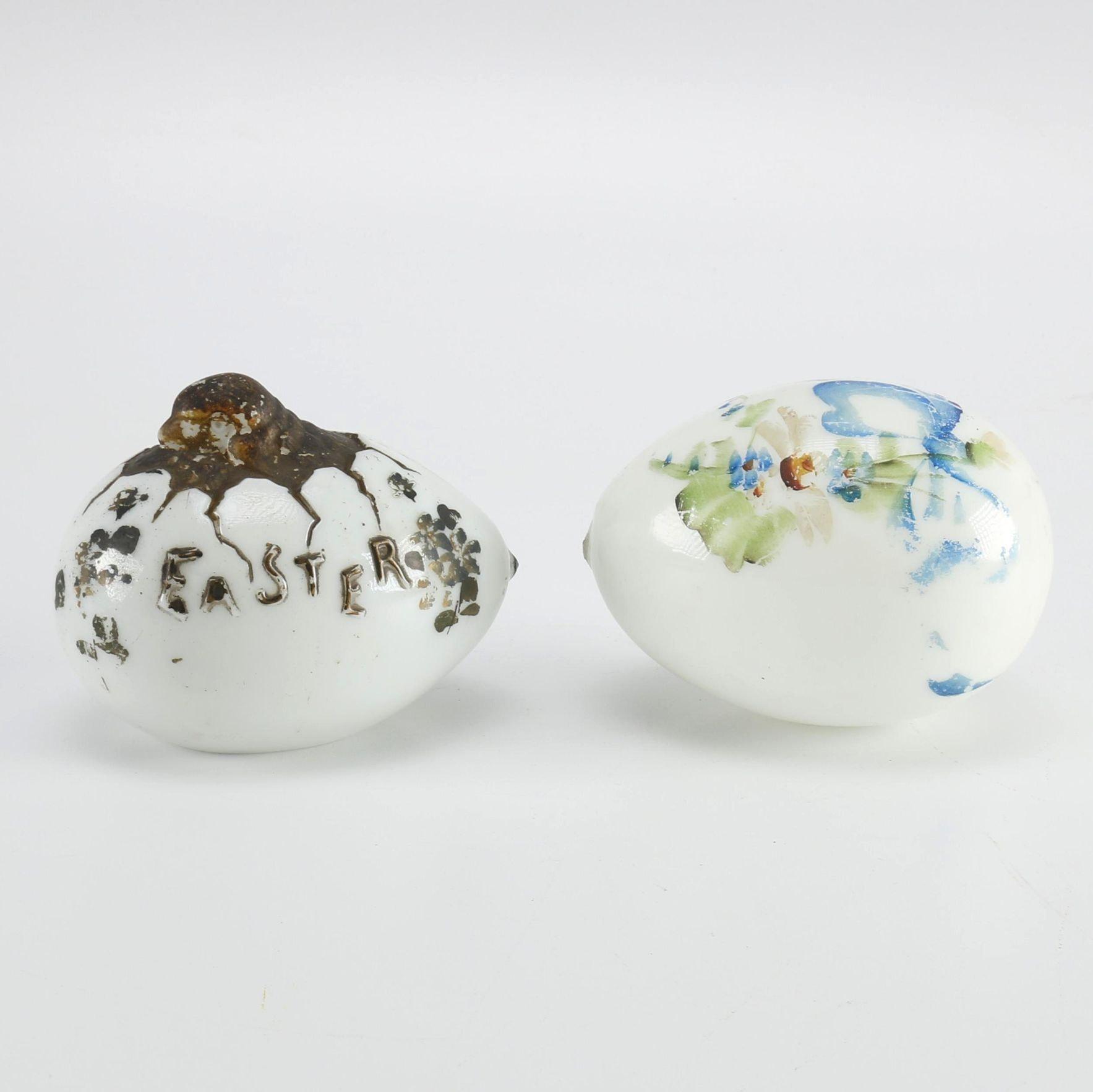 Handpainted Milk Glass Easter Eggs