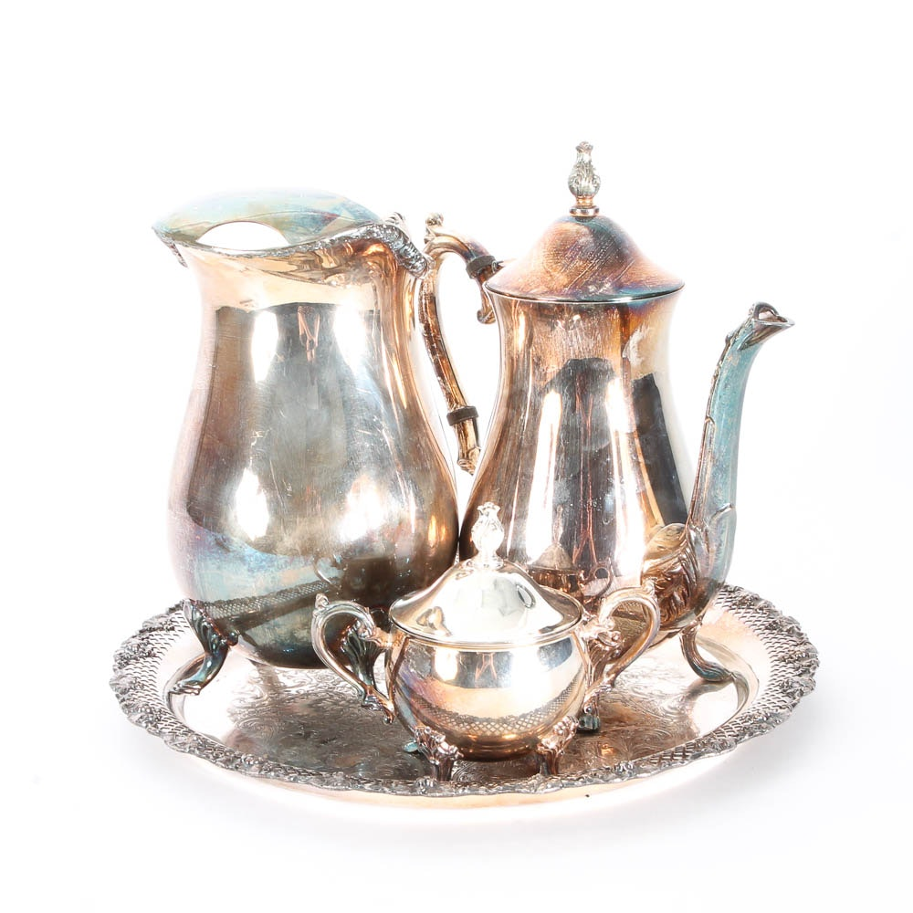 Silver Plated Tea Set and Tray ...  sc 1 st  EBTH.com & Silver Plated Tea Set and Tray : EBTH