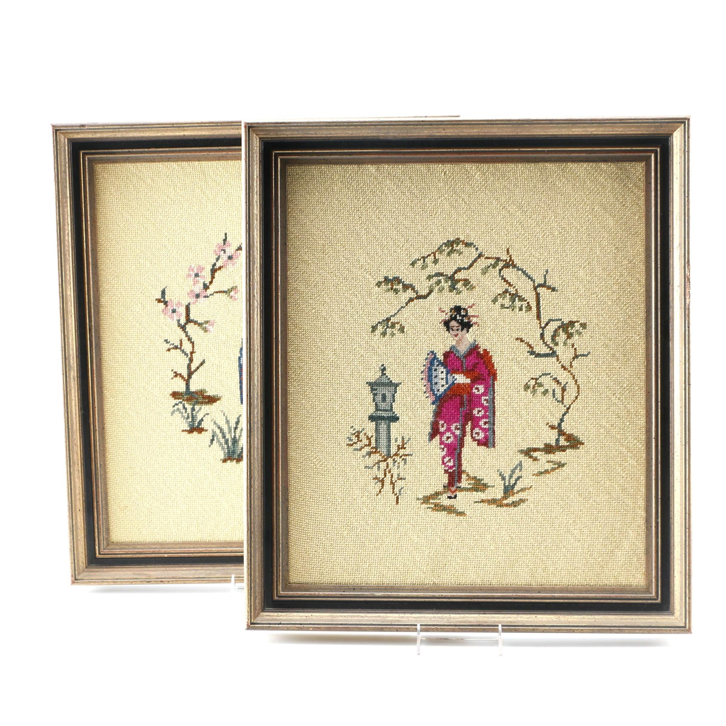 Pair of Framed Japanese Style Needlepoints