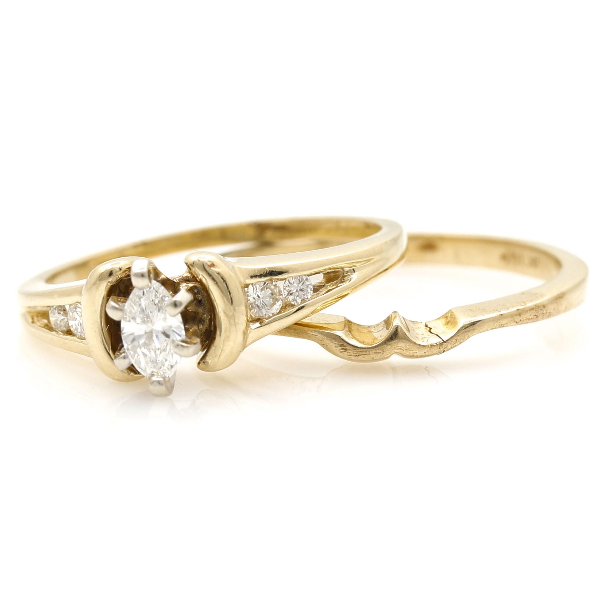 14K Yellow Gold and Diamond Bridal Set