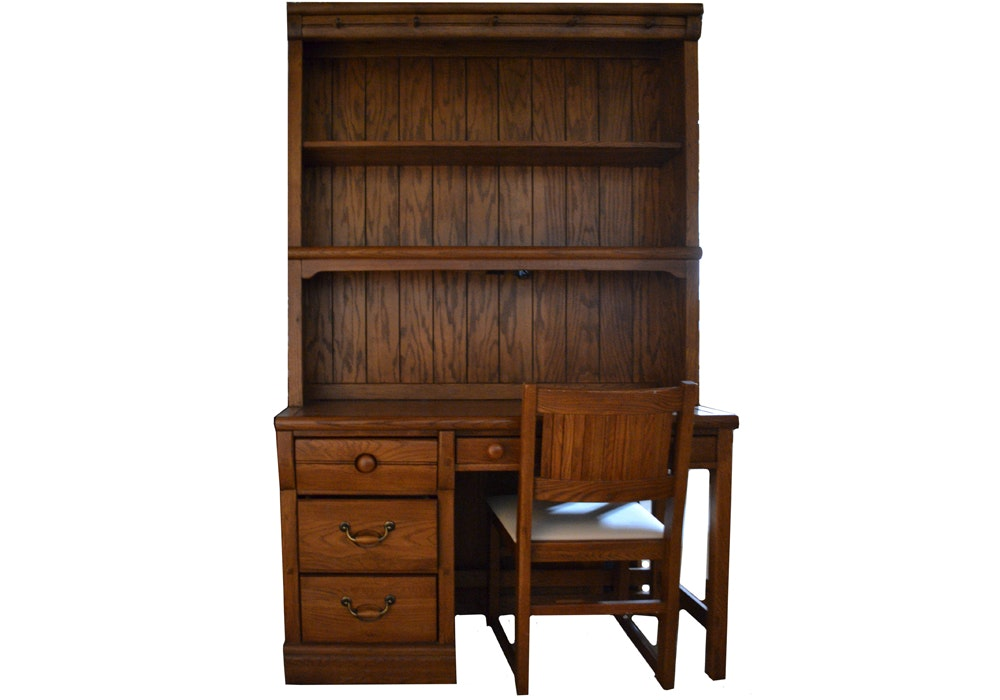 Desk With Step Back Hutch by Lexington and Chair