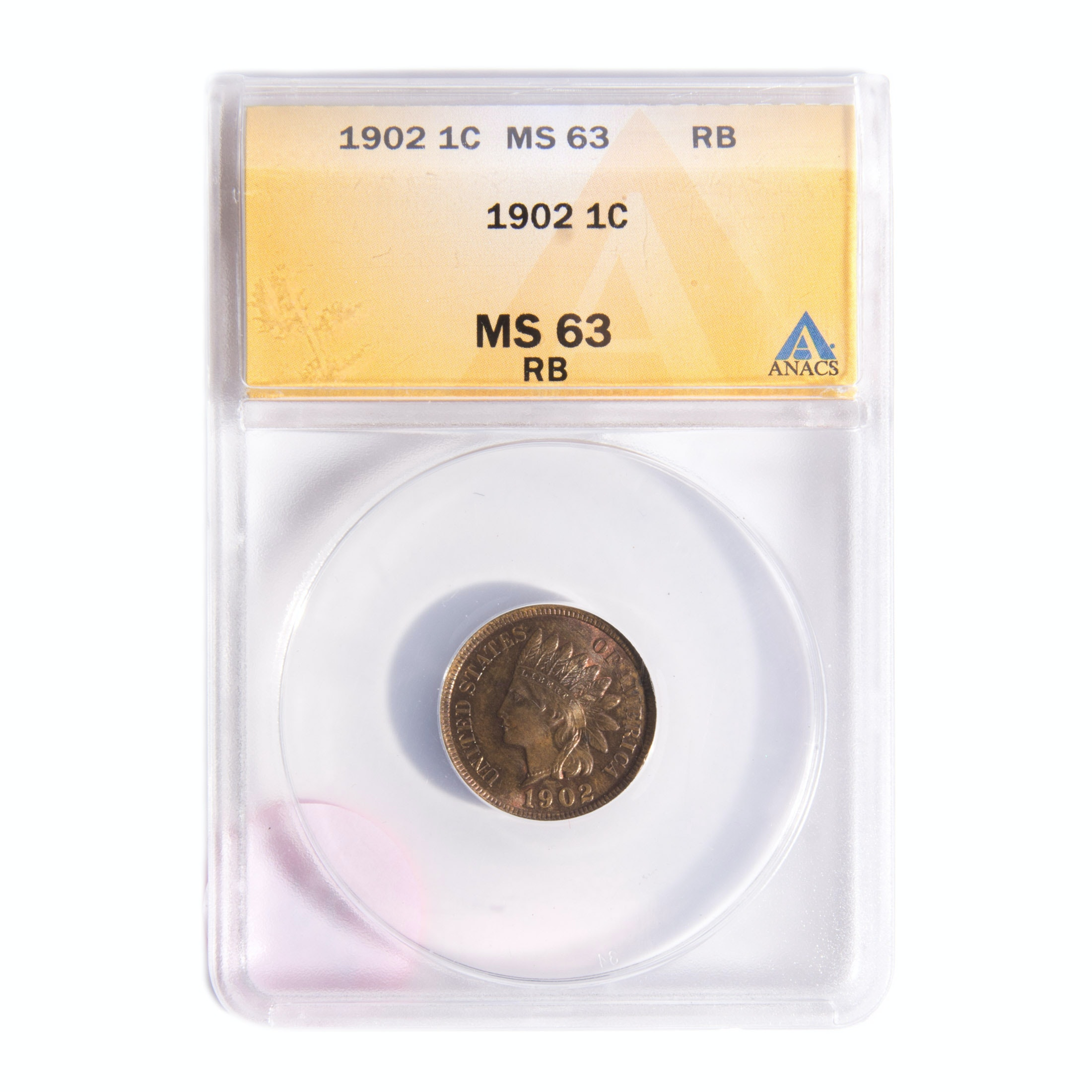 1902 Indian Head Penny ANACS Graded MS 63 RB