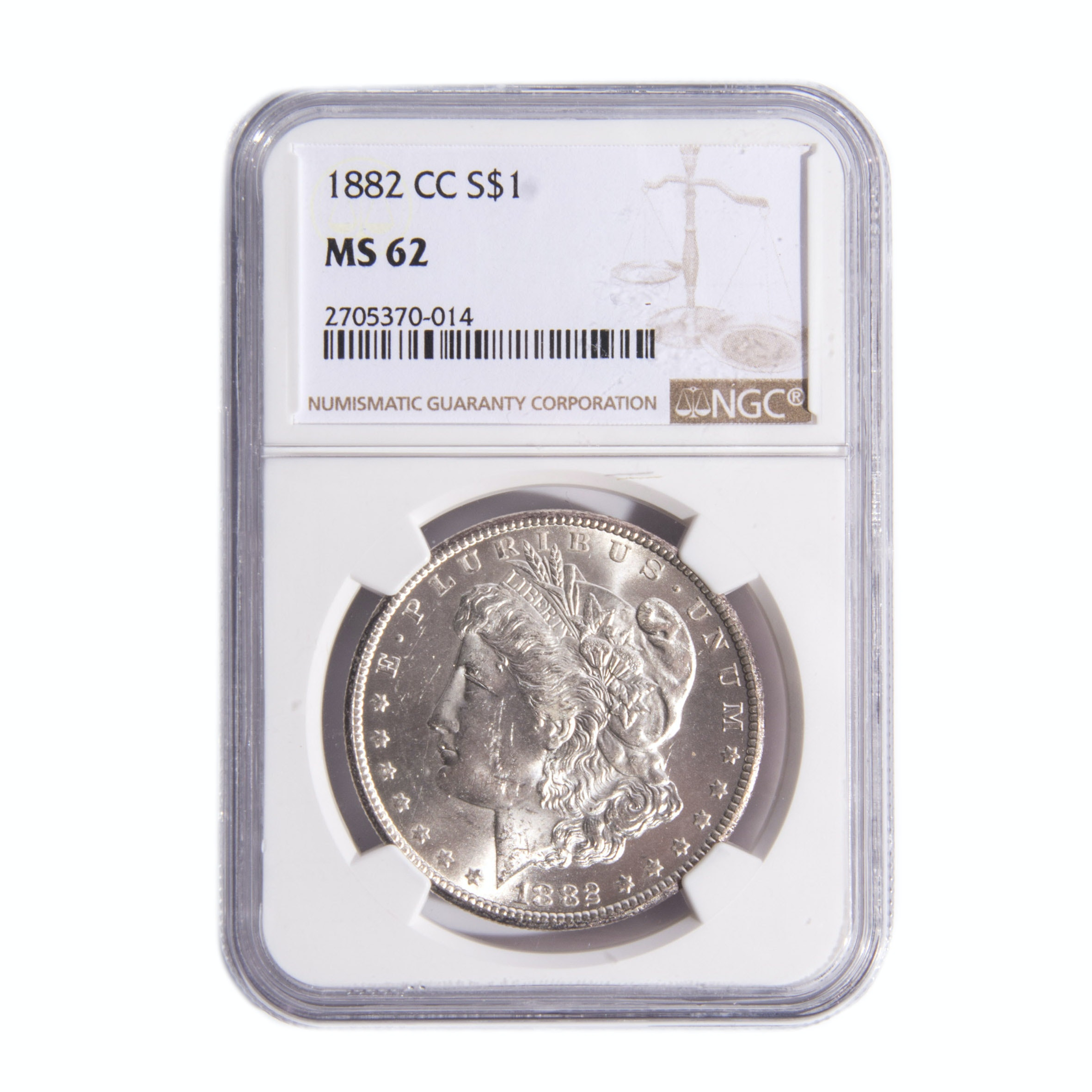 1882-CC Morgan Silver Dollar NGC Graded M62