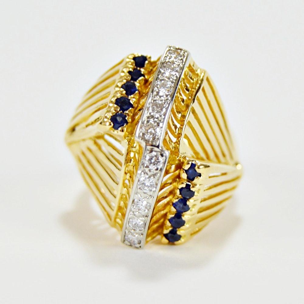 18K Yellow Gold Modernist Blue Sapphire and Diamond Ring