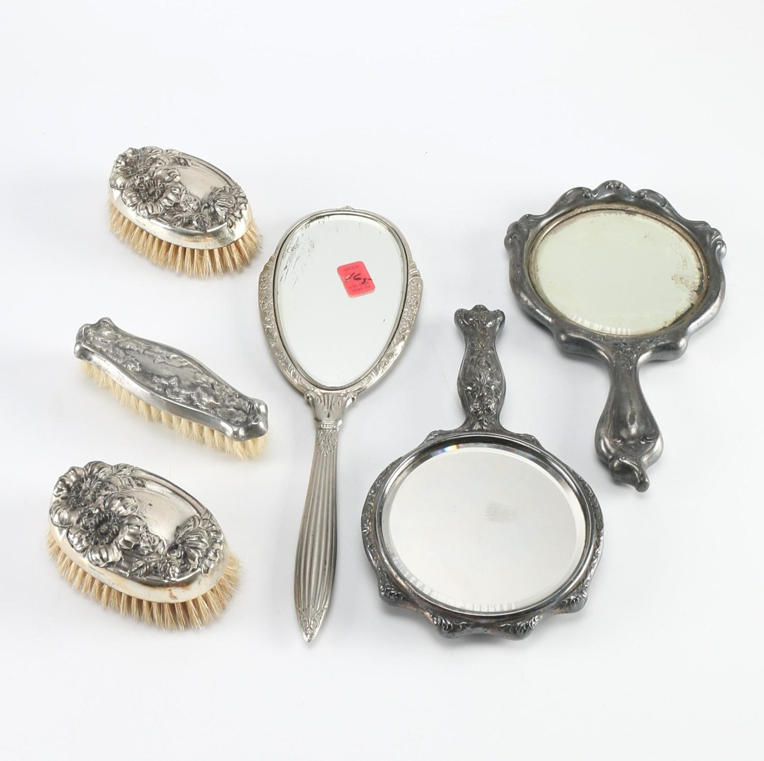 Early 20th Century Silver Plate Hand Mirrors and Brushes