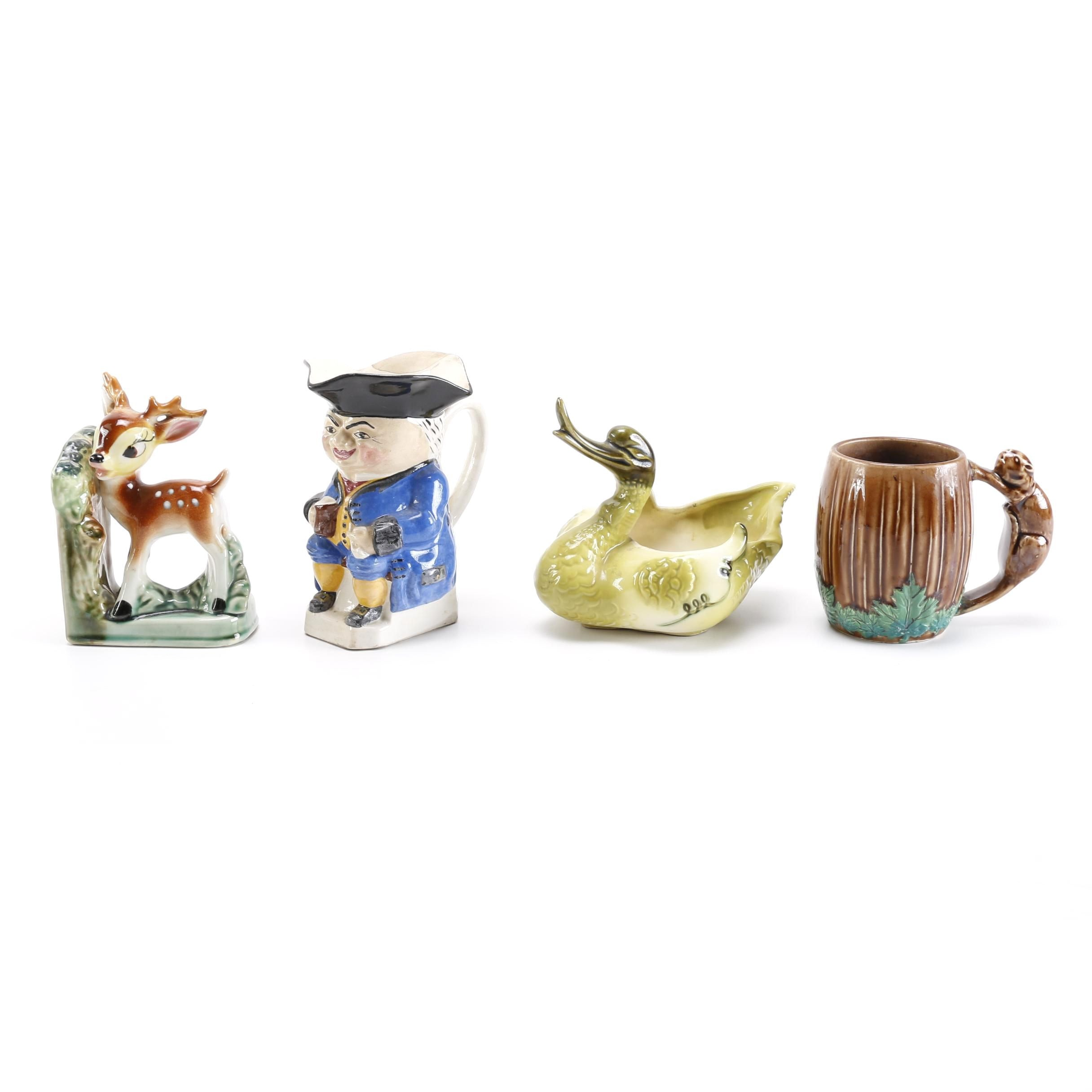 Hand-Painted Ceramic Animal Decor Including Hull