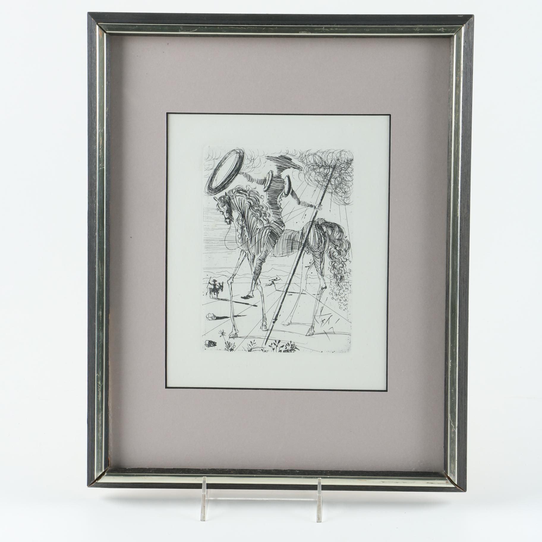 "Salvador Dali Open Edition Restrike Etching ""Don Quixote"""