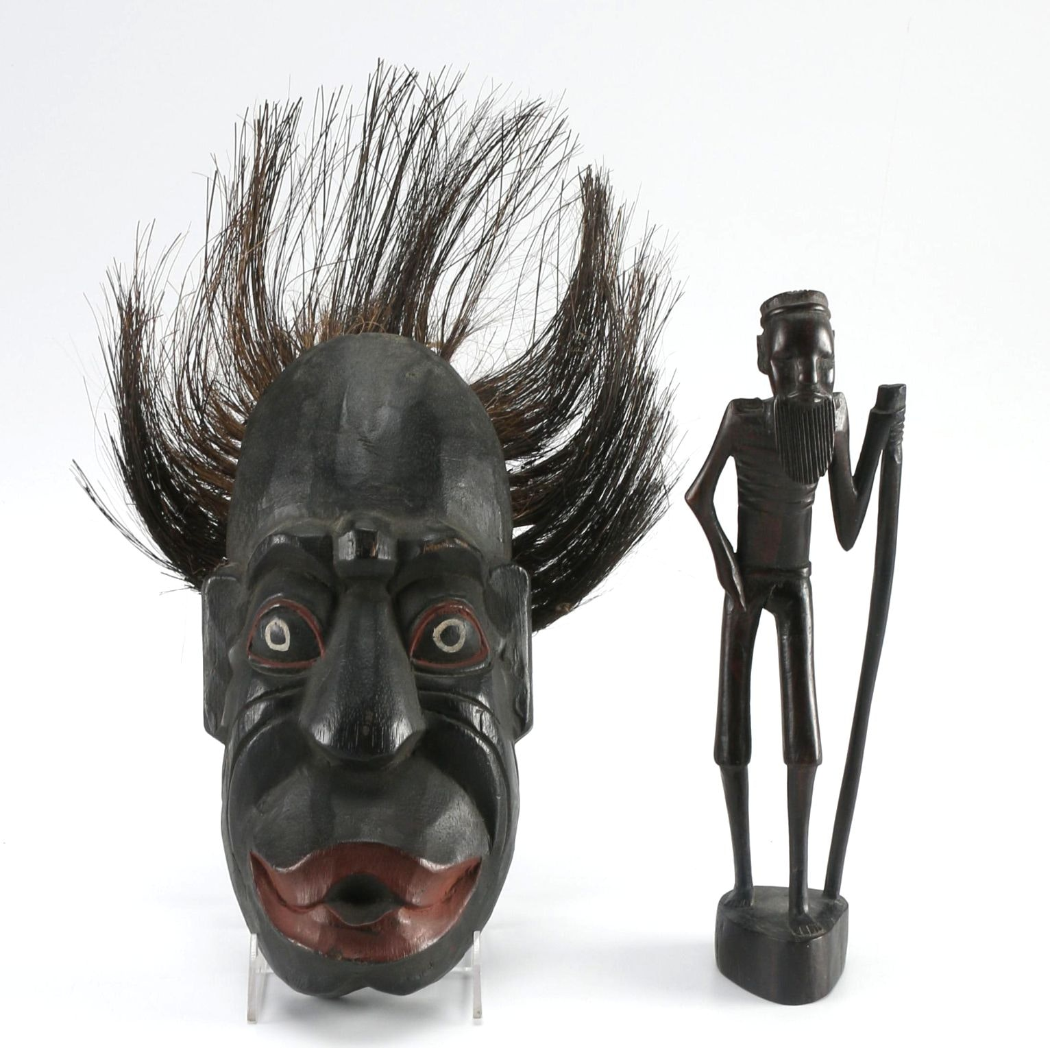African-Inspired Wooden Carving and Mask