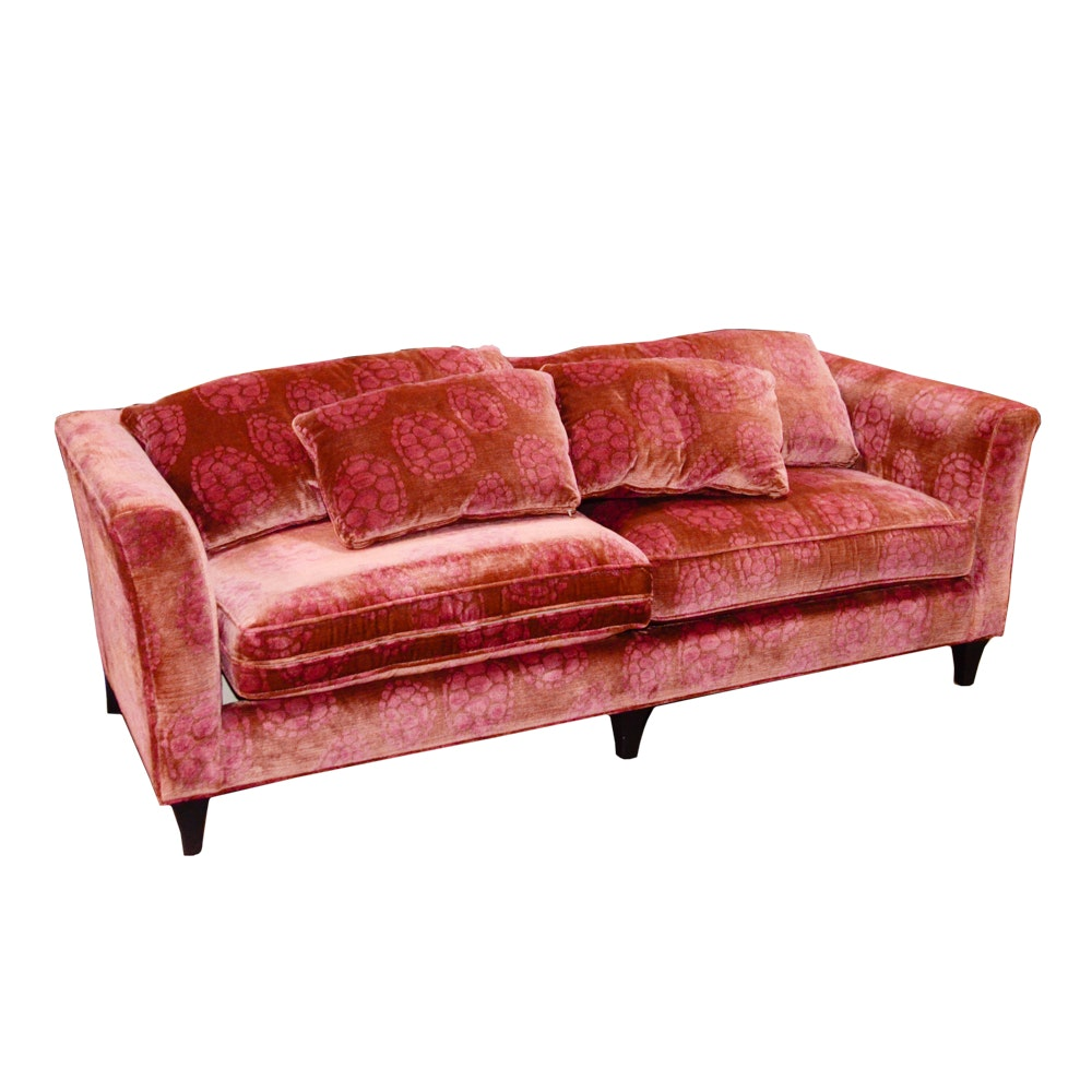 "Baker ""Dapha Madison"" Sofa with Donghia Velvet Upholstery"