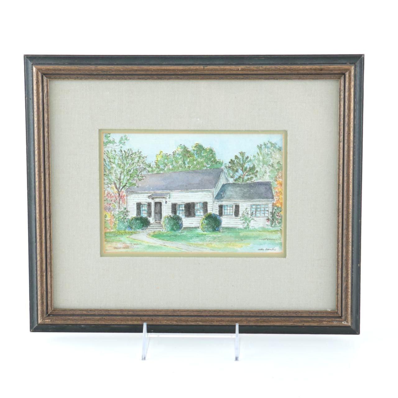Hattie Barringer Original Watercolor on Paper Landscape
