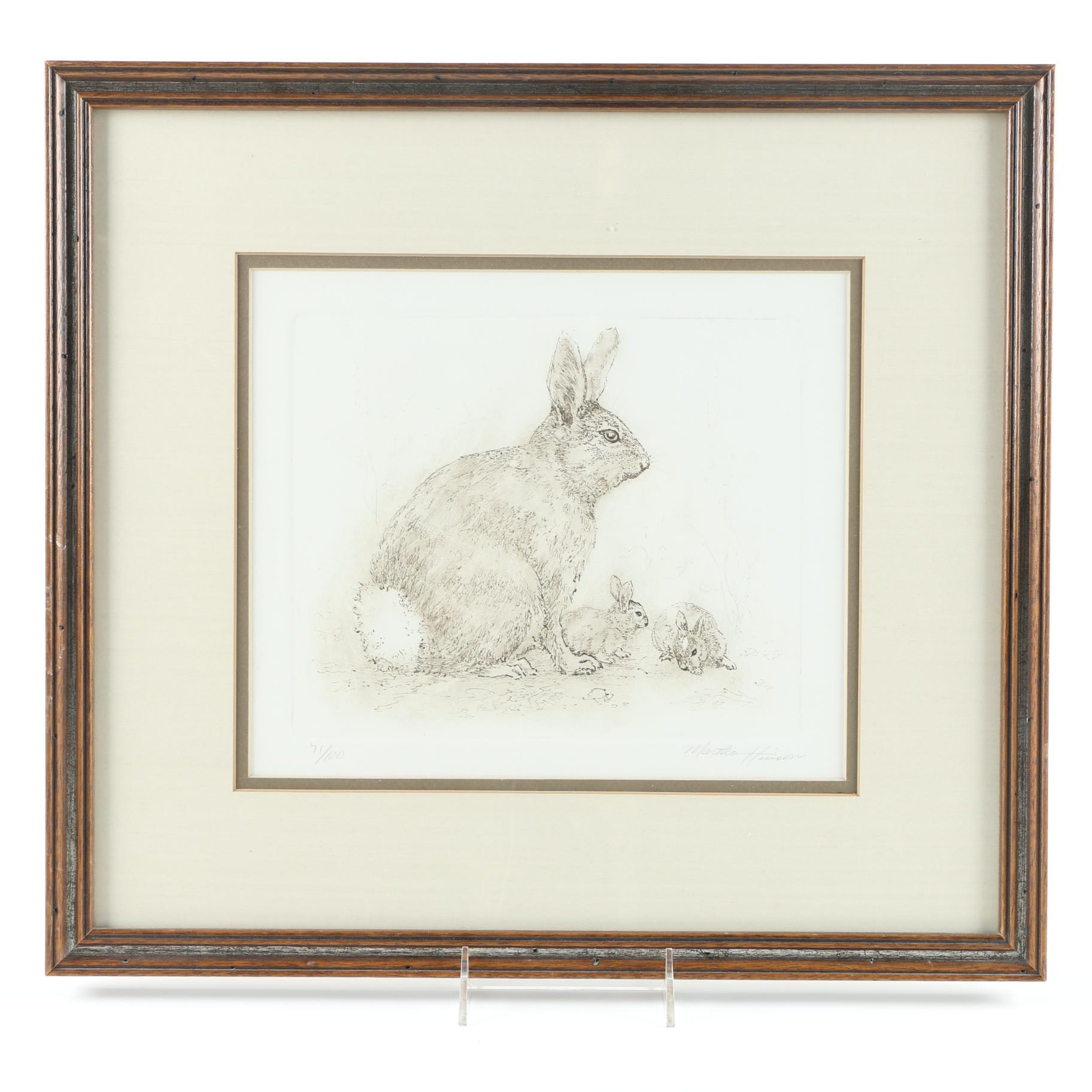 Limited Edition Martha Harrison Lithograph of Bunnies