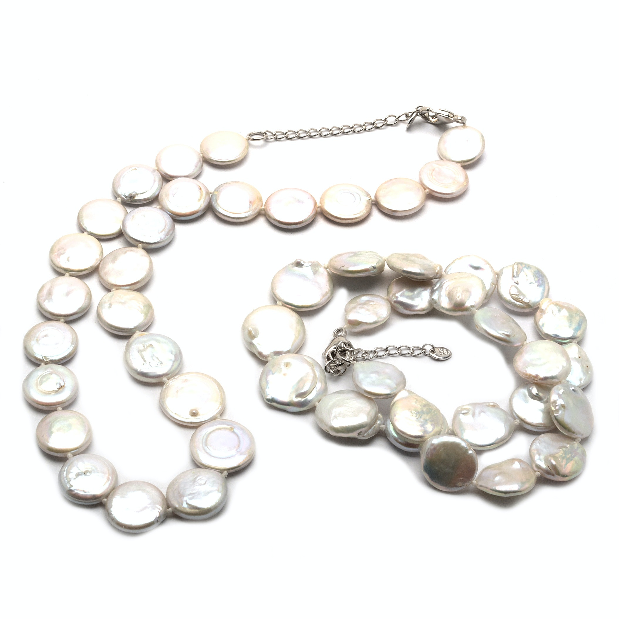 Lucas Lameth Sterling Cultured Coin Pearl Necklaces