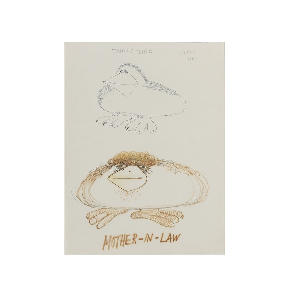 """Bob Guccione Ink Drawing on Paper """"Worry Bird"""""""