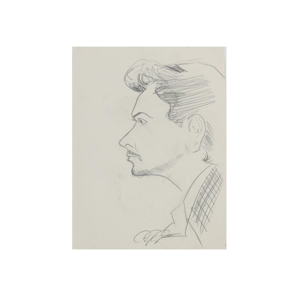 Bob Guccione Graphite Drawing on Paper Profile Portrait of a Man