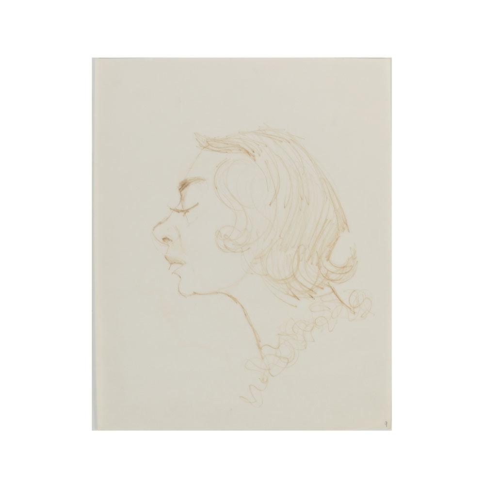 Bob Guccione Ink Drawing on Paper Profile Portrait of a Woman