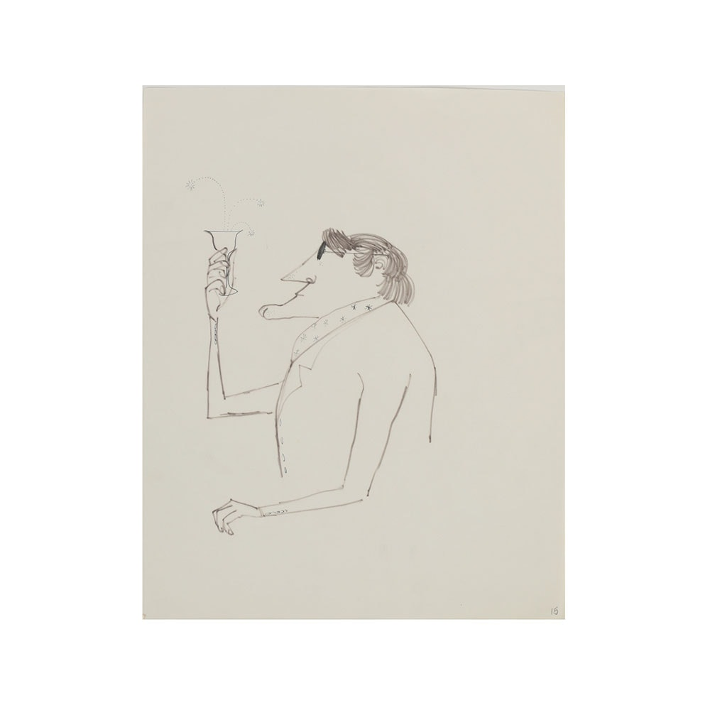 Bob Guccione Ink Drawing on Paper Portrait of a Man