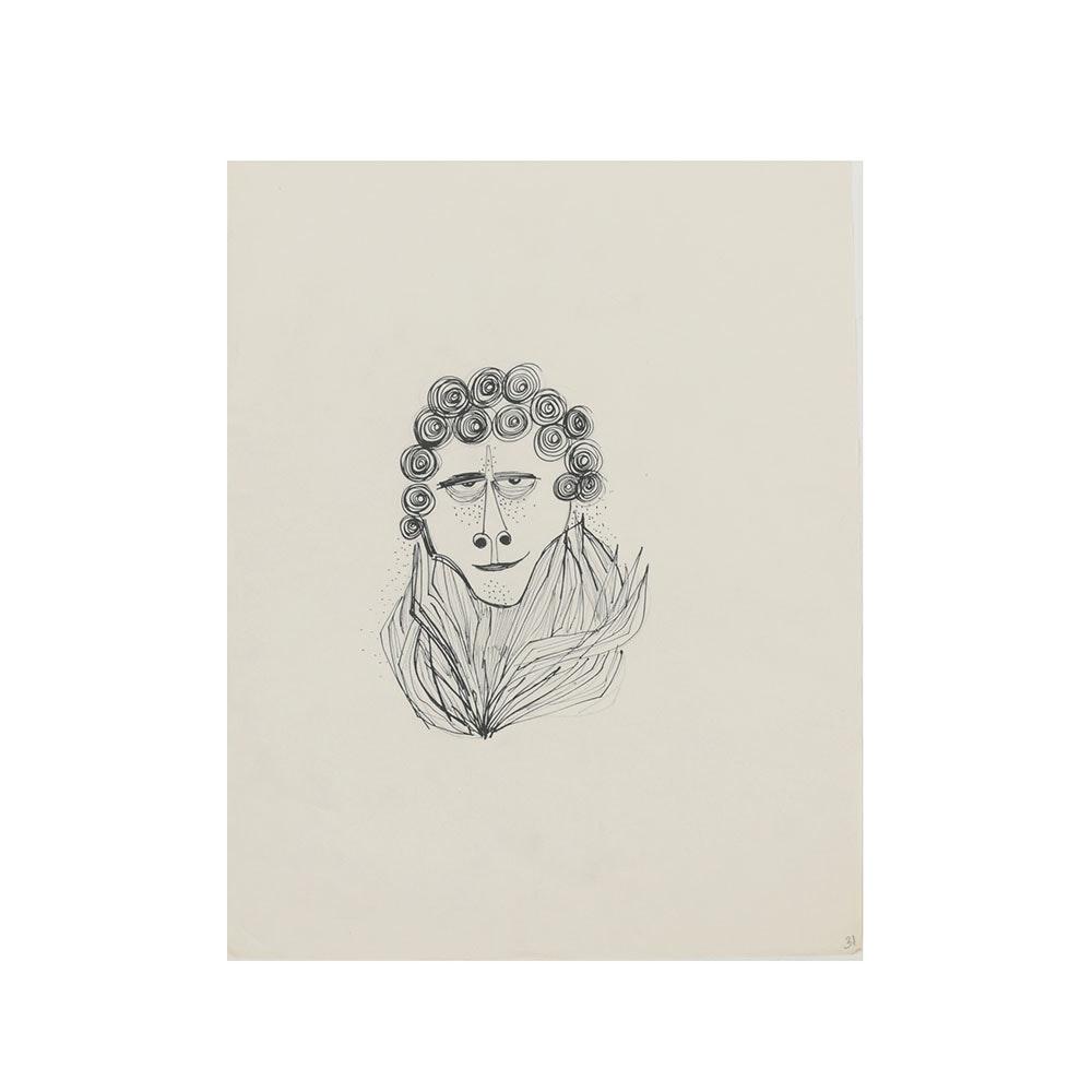Bob Guccione Ink Drawing on Paper Bust Portrait a Man