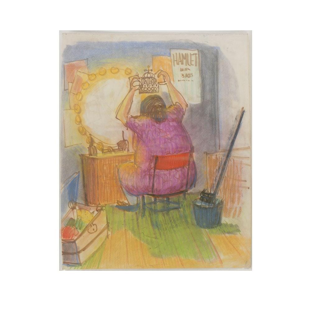 Bob Guccione Pastel Drawing on Paper Cartoon Illustration