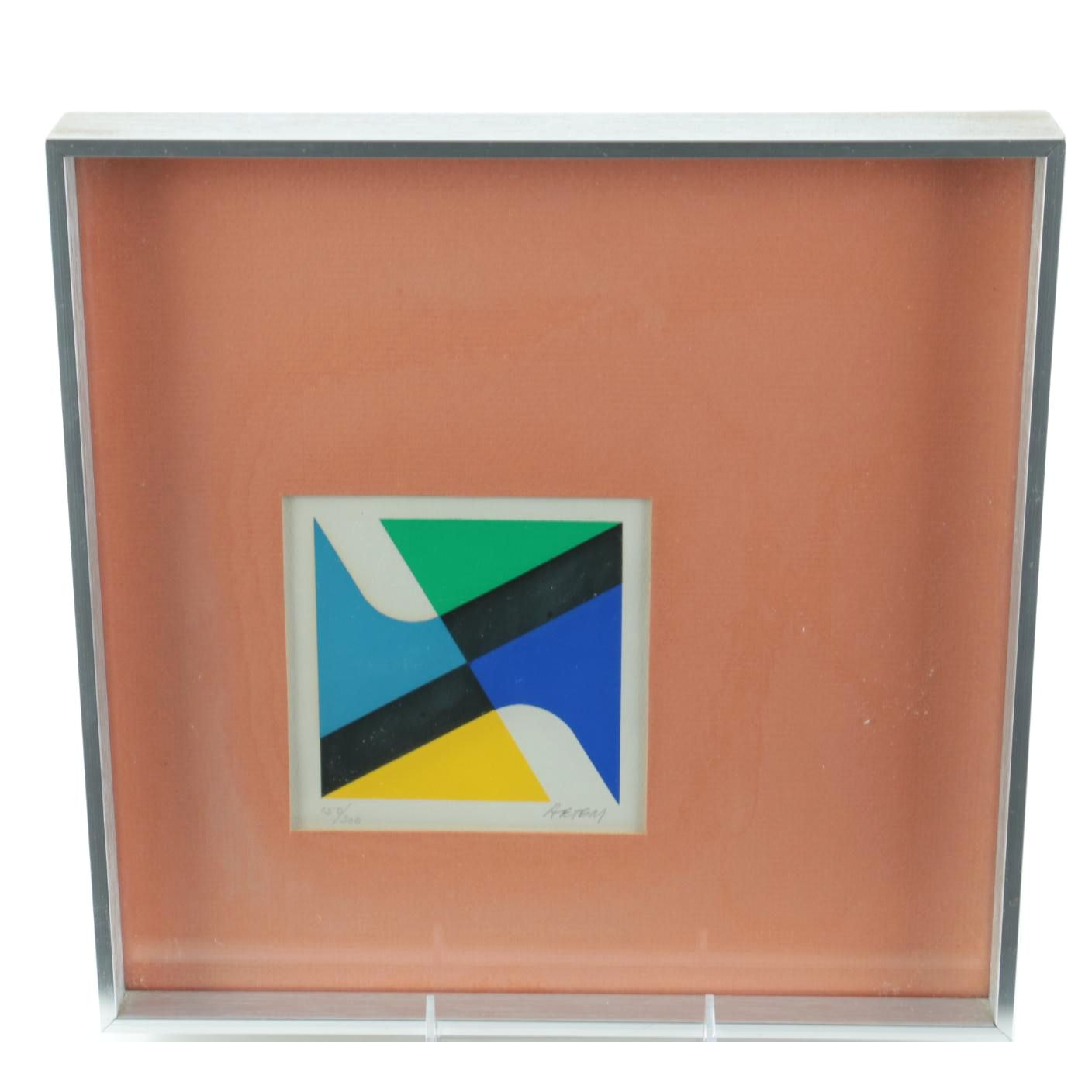 AETEM Mid-Century Limited Edition Abstract Geometric Serigraph