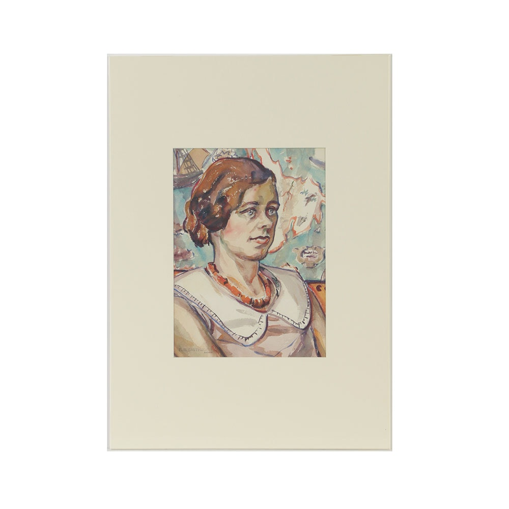 Florence Bartley Smithburn Watercolor Painting on Paper Portrait of a Woman