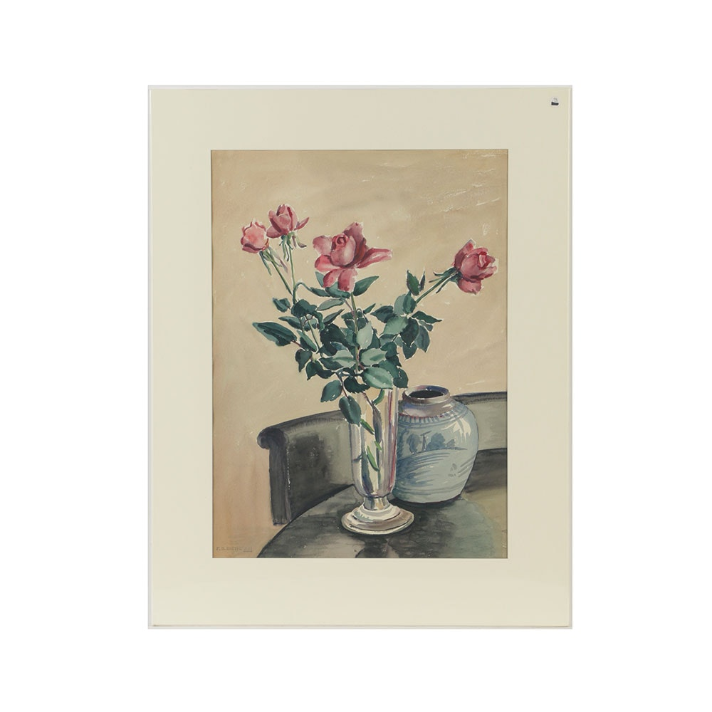Florence Bartley Smithburn Watercolor Painting on Paper Still Life with Roses