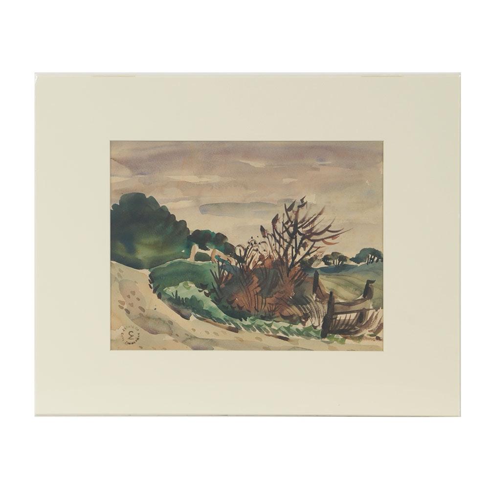 Carl Zimmerman Watercolor on Paper Landscape