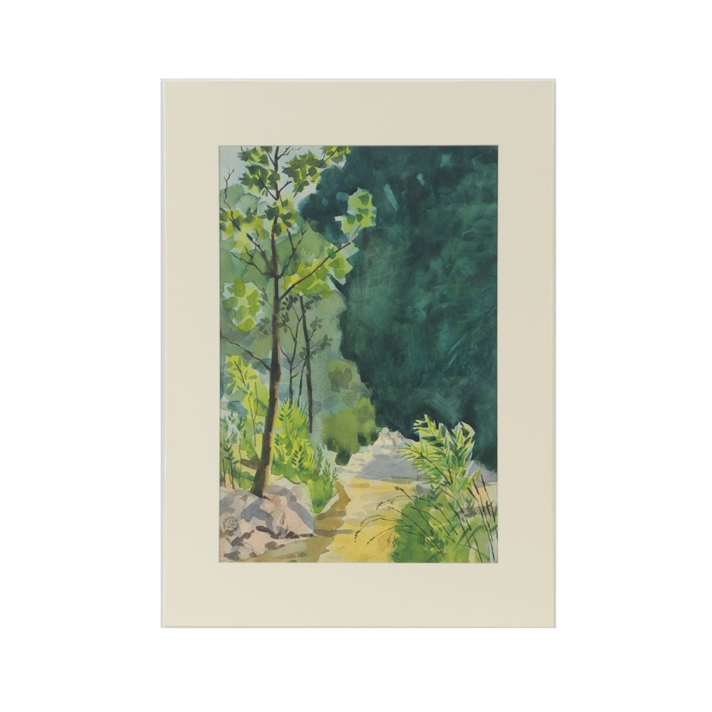 Carl Zimmerman Watercolor Painting on Paper Landscape