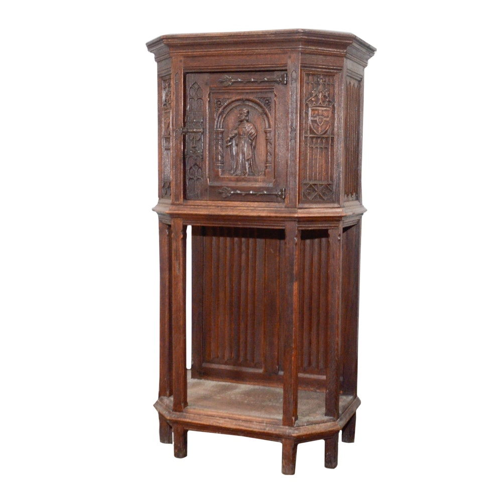 Antique Tabernacle Style Oak Cabinet