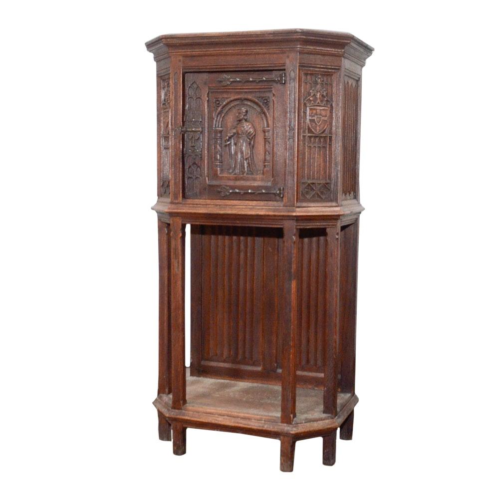 Antique Tabernacle Style Oak Cabinet