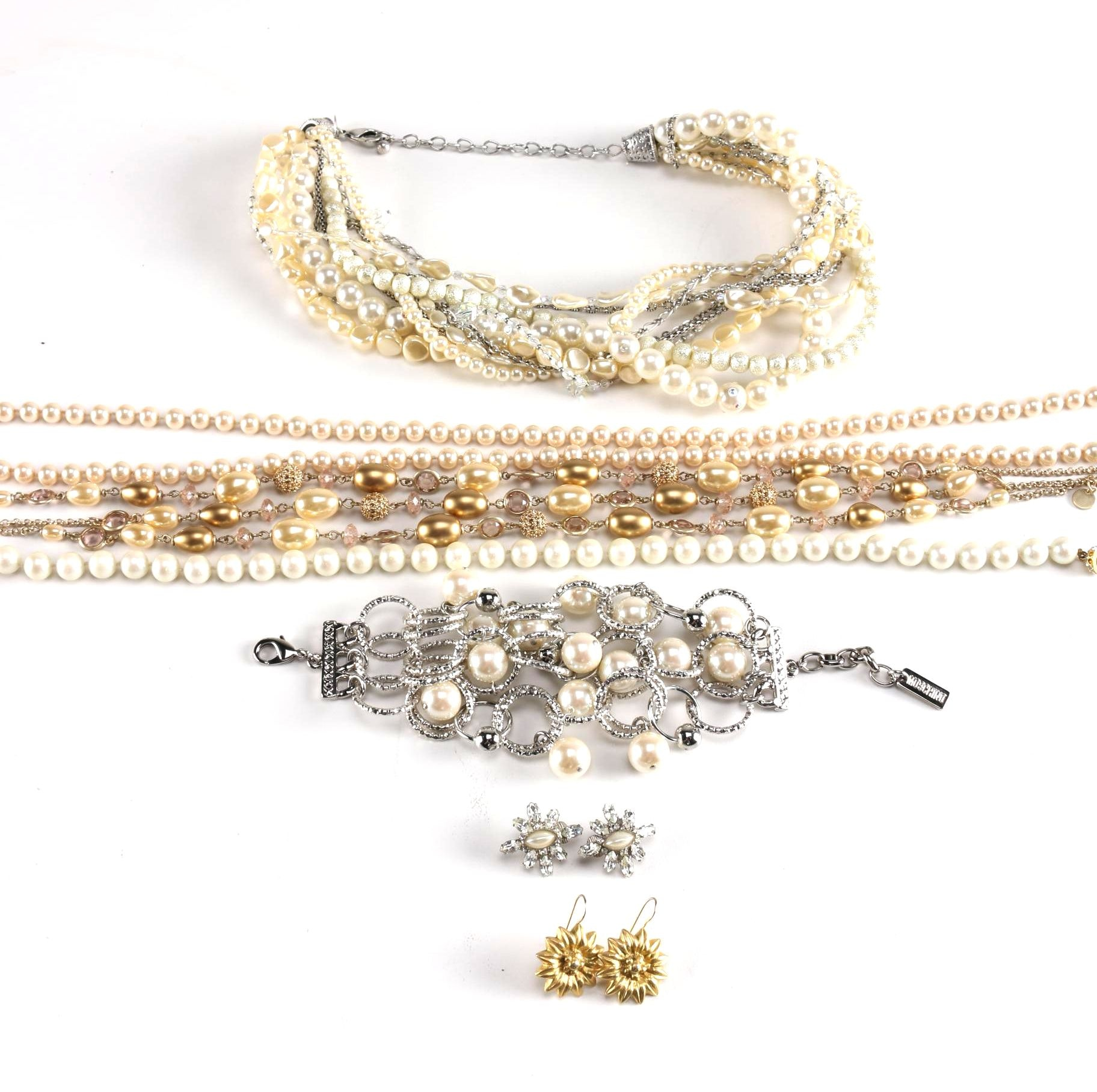 Assorted Faux Pearl and Costume Jewelry Including Moschino