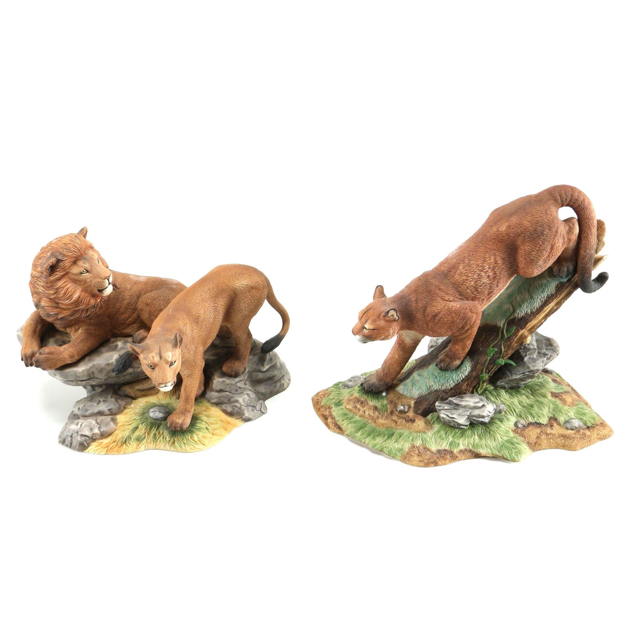"Lenox ""Wildlife of the Seven Continents"" Big Cat Porcelain Figurines"