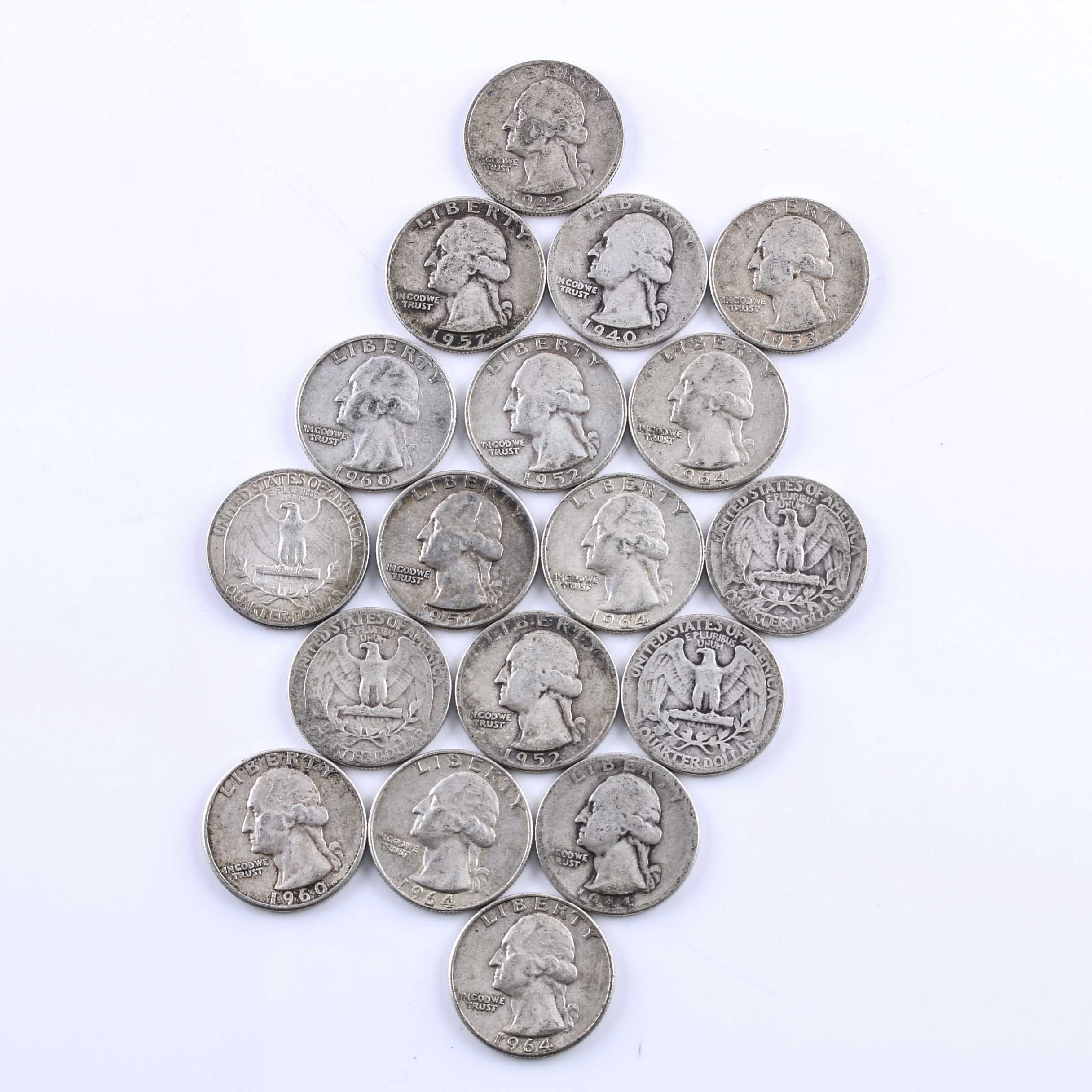 Eighteen Washington Silver Quarters