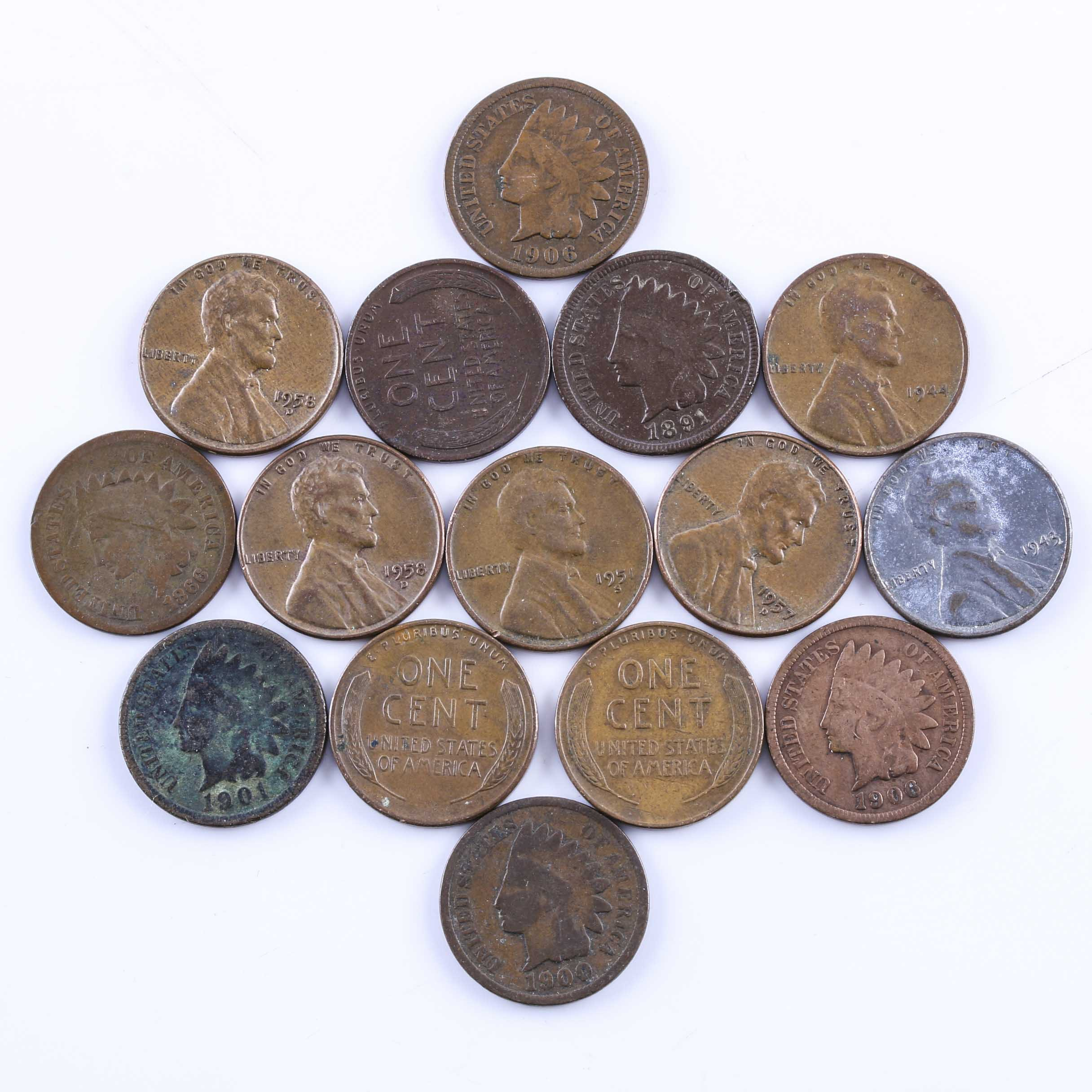 Group of Indian Head and Lincoln Wheat Pennies